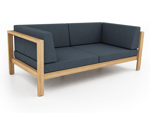 Belize Modern Teak Luxury Outdoor Furniture Design 2 Seater Loveseat Sofa  Seating Grey Cushion Quickdry Hotel