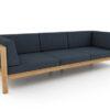 Belize modern teak luxury outdoor furniture design 3 seater sofa seating grey cushion quickdry hotel hospitality patio