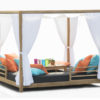 Belize modern teak luxury outdoor furniture design daybed covered curtains grey cushion quickdry hotel hospitality patio