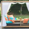 Belize modern teak luxury outdoor furniture design daybed lounge curtain g grey cushion quickdry hotel hospitality patio