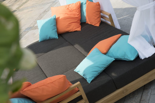 transitional contemporary outdoor teak sofa seating qdf cushion daybed curtain