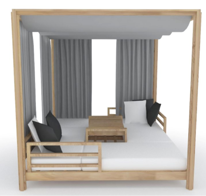 Modern Teak Daybed Curtain Barn Style Contract Hotels Pool Side Farm