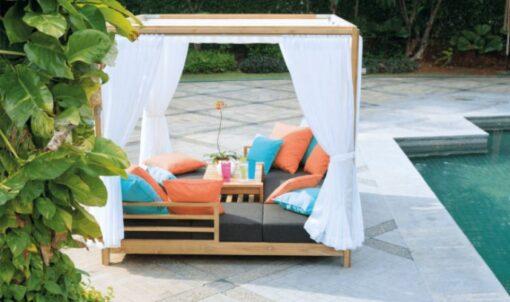 transitional contemporary outdoor teak sofa seating qdf cushion