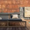 Belize modern teak luxury outdoor furniture design double chaise lounge lounger grey cushion quickdry hotel hospitality patio 2