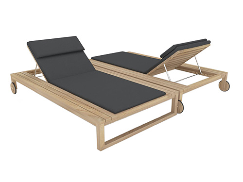 Belize Modern Teak Luxury Outdoor Furniture Design Double Chaise Lounger Grey Cushion Quickdry Hotel Hospitality Patio
