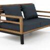 Bermuda modern teak white black aluminum luxury outdoor furniture design 2 seater loveseat sofa hotel hospitality patio