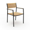 Modern White Black Aluminum Teak Dining Chair