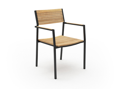 Modern White Black Aluminum Teak Dining Chair Patio Contact Hotels Luxury