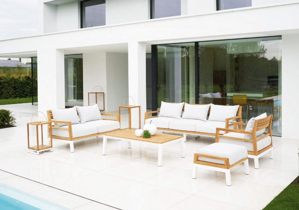 Modern Aluminum Teak 3 Seater Sofa Farm House Barn Style Contact Hotels