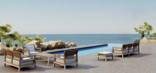 Bermuda modern teak white black aluminum luxury outdoor furniture design sofa seating hotel hospitality patio