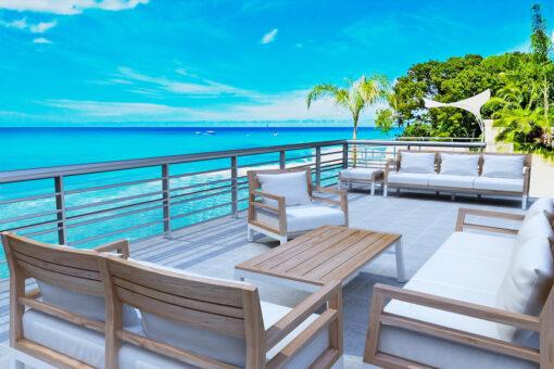 Bermuda modern teak white black aluminum luxury outdoor furniture design sofa seating hotel hospitality patio lg