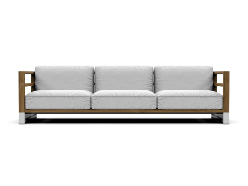 Modern Aluminum Teak Black White 3 Seater Sofa Patio ...