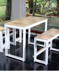 Modern White Black Aluminum Teak Bar Stools Table
