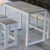 Bermudafied modern teak white black aluminum luxury outdoor furniture design bar table stool dining hotel hospitality patio b