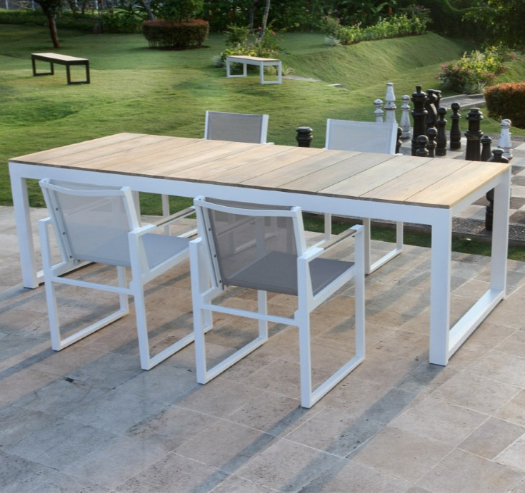 Modern Teak White Black Aluminum Dining Table Farm House