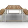 Bermudafied modern teak white black aluminum luxury outdoor furniture design dining table bench hotel hospitality patio