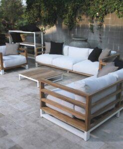 Modern Aluminum Teak Black White 3 seater sofa