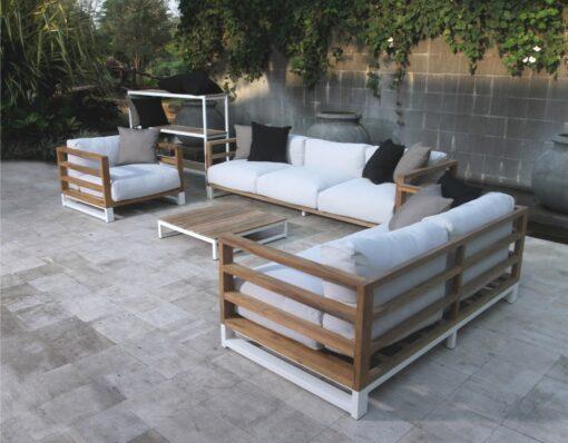 Bermudafied modern teak white black aluminum luxury outdoor furniture design sofa seating grey cushion quickdry hotel hospitality patio