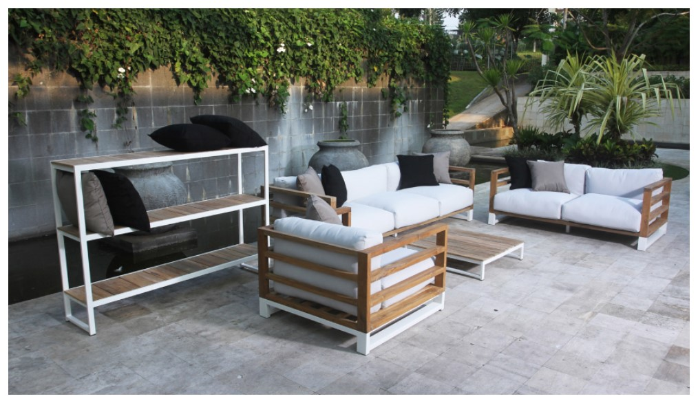 Modern Aluminum Teak Black White 3 Seater Sofa Patio