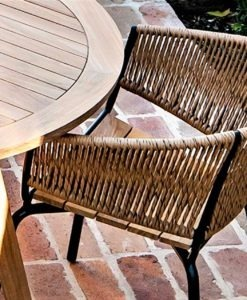 Ake rope weave banana leaf wicker dining chair contract hotel hospitality luxury design custom