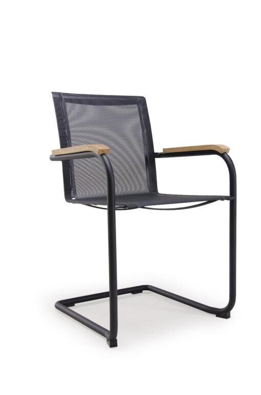 Alan Cantilever teak dining chair modern teak stainless steel outdoor residential ferrari batyline black
