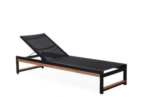 Alar Batyline Chaise Lounger Pull Out Tray Luxury Pool Furniture Contract Teak Batyline All Weather