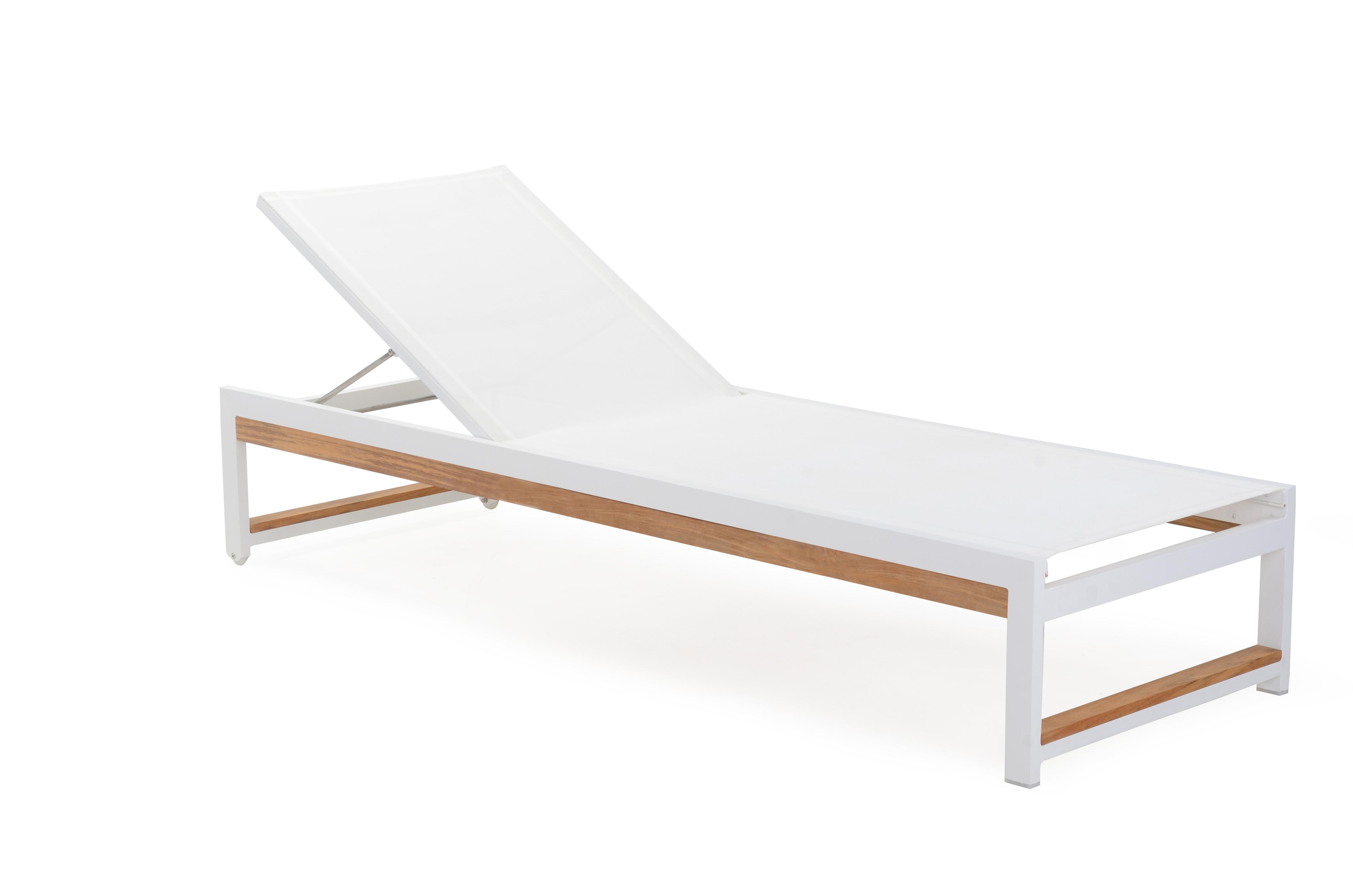 Alar Batyline Chaise Lounger Modern Teak Outdoor Contract