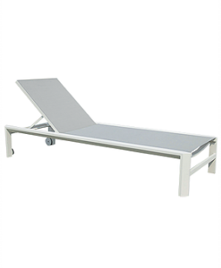 Modern White Grey Aluminum Textile Chaise Lounger Wheels