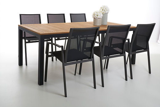Pleasant Contemporary Aluminum Teak Dining Table Barn Style Contract Alphanode Cool Chair Designs And Ideas Alphanodeonline
