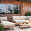 Modern Teak Woven Backrest W Rope Sectional Sofa