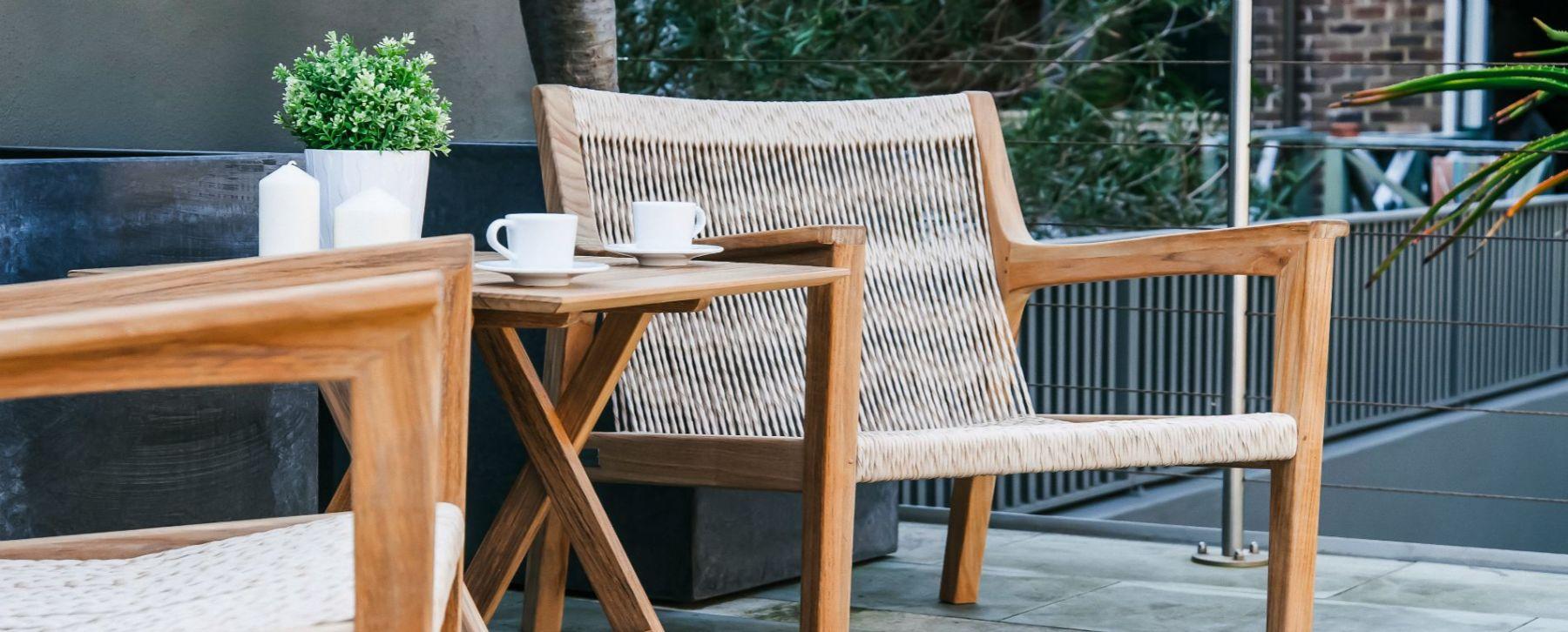 Modern Rattan Weaving Teak Rocking Chair Rope Pool Furniture