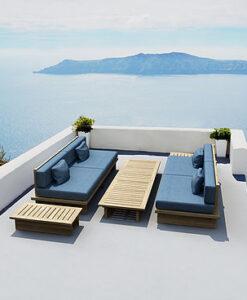 Modern Teak Platform 2 Seater Sofa Blue Cushions