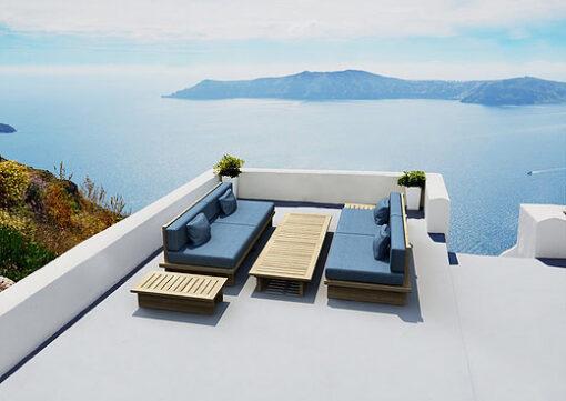Azure Modern Sofa Teak Sunbrella Pool Furniture Hospitality Contract
