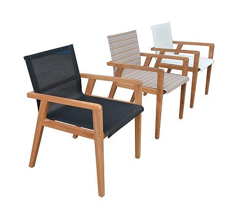 Modern Teak Batyline Textile Dining Chair Blackwhite