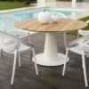 Modern Teak Aluminum Round Table