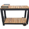 Modern Teak Black Aluminum Outdoor Bar Cart Trolley