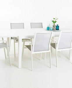 Extendable Tempered Glass Powder Coated Aluminum Dining Table
