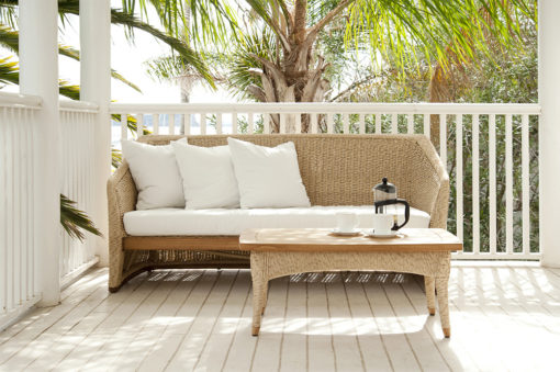Elana Teak 2 Seater Sofa Wicker Teak Traditional Contract Outdoor Furniture All Weather