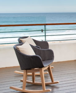 Modern Teak Aluminum Rope Rocking Chair