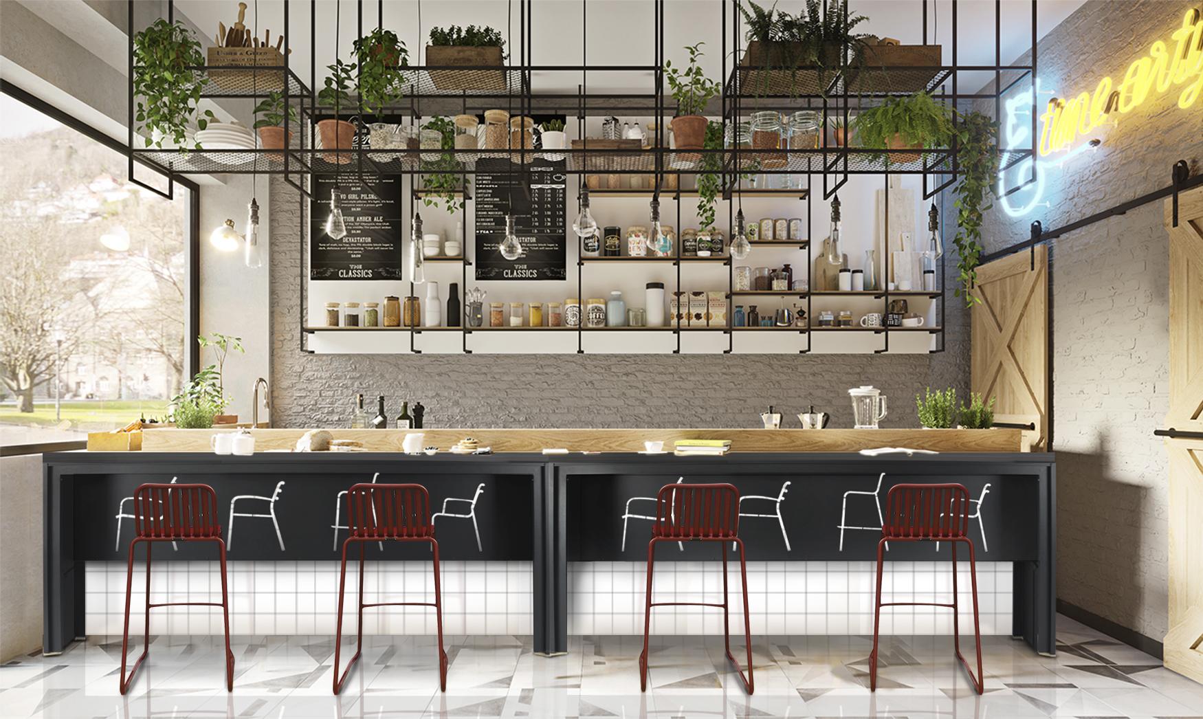 Modern Aluminum Long Slat Counter Bar Table Restaurants 5
