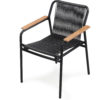 Flyn Rope & Wicker Dining Chair Stellar Stackable Rope Dining Chair Hospitality Contract black