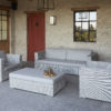 Modern Aluminum Wicker Sunbrella Sofa Set