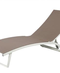 Modern Textile Aluminum Wheels Chaise Lounger
