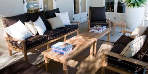 Hampton 3 Seater Sofa Traditional Teak Patio Hotel Terrace Furniture