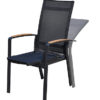 Modern Teak Armrest Stackable Aluminum Reclining Dining Chair