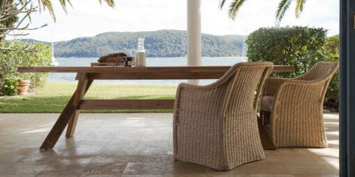 Nixon Dining Table Traditional Teak Outdoor Furniture Restaurants w Elana Chair