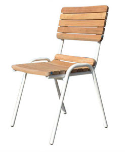 Contemporary Aluminum Teak Stackable Dining Chair