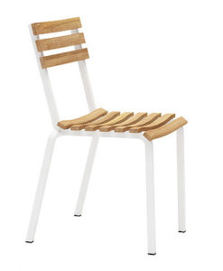 Contemporary Teak Aluminum Dining Chair