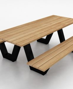 Modern Aluminum Teak Picnic Table