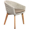 Modern Aluminum Wicker Teak Dining Chair W Sunbrella Cushion